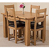 Hampton Solid Oak Extending 120 - 160 cm Dining Table with 4 Lincoln Oak & Leather Chairs