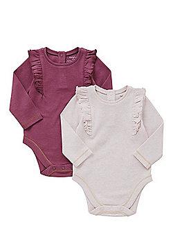 F&F 2 Pack of Frill Trim Bodysuits - Pink