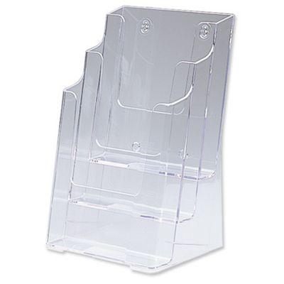 Deflecto Multi-tier Literature Display Holder for Wall or Desktop 3 x 1/3 A4 Pockets Clear Ref DE77401