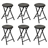 Harbour Housewares Round Compact Folding Stool - Black - Pack Of 6