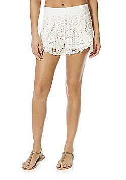 F&F Crochet Beach Shorts - White