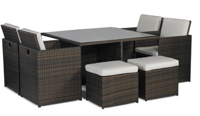 Rattan Garden Furniture Tesco buy savannah rattan 4 seat cube dining set from our rattan garden