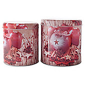 Pair of Spiced Apple Design Christmas Metal Storage Tins