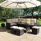 Maze Rattan - Kingston Corner Sofa Dining Set - Brown