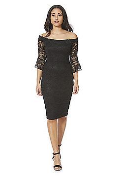 AX Paris Lace Bardot Bodycon Dress - Black