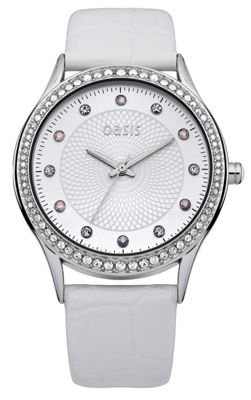 Oasis Ladies Leather Stone Set Watch B1363