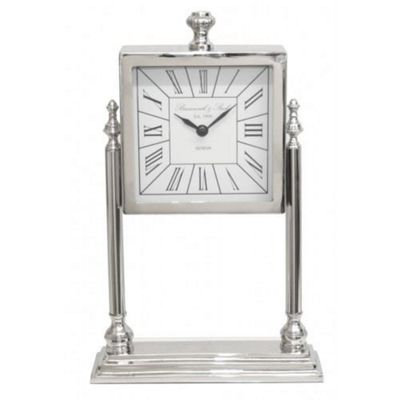 Nickel And White Square Table Clock On Stand Living Room Home Decor