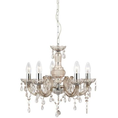 5 Light Acrylic Chandelier Mink - Traditional Design Chrome Frame