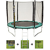 Up and About 10ft Supernova Green Trampoline Package with Free Ladder, Weather Cover and Building Tool