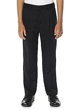 F&F School Boys Reinforced Knee Plus Fit Trousers - Black