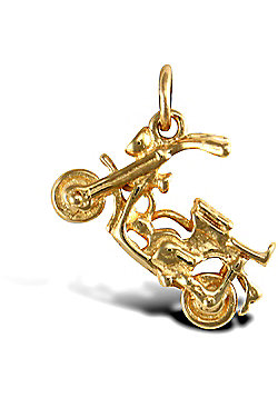 Solid 9ct Gold Moped Scooter Charm Pendant