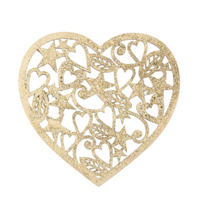 Gold Glitter Heart Christmas Tree Decoration