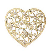 Gold Glitter Heart Christmas Tree Decoration