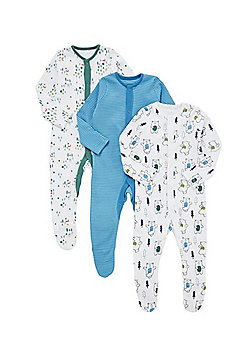 F&F 3 Pack of Dancing Bear and Striped Sleepsuits - Multi