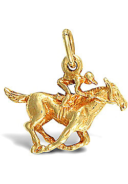 Jewelco London 9ct Solid Gold casted Jockey on horse in racing stance Pendant charm