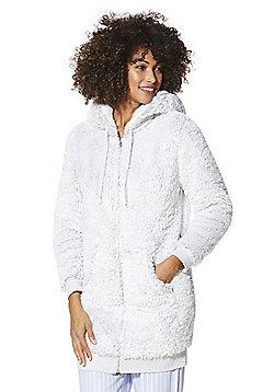 F&F Fleece Zip-Through Lounge Hoodie - Light grey