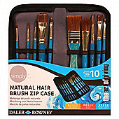 Simply Acrylic Gold Taklon Brush Zip Case (10pc) (The Art Of Giving) - Arts and Crafts