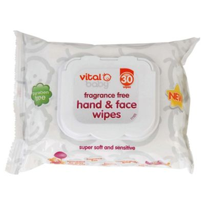 Vital Baby Fragrance Free Hand & Face Wipes - 30 pack