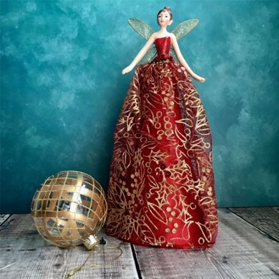 Red & Gold Fairy Tree Topper - Large
