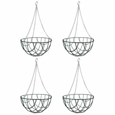 4 x 12-inch Green Metal Hanging Baskets