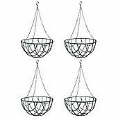 4 x 12-inch Green Metal Hanging Baskets