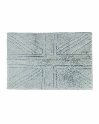 Homescapes Cotton Tufted Rug Union Jack Plain Embossed Mat Silver Grey,90 x 150cm