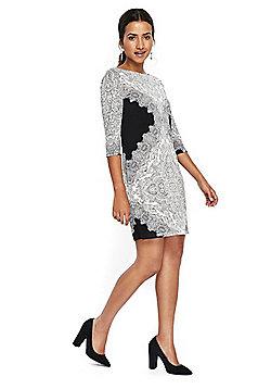 Wallis Paisley Placement Print Tunic Dress - White & Black