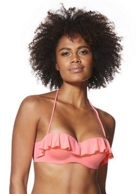 F&F Ruffle Trim Underwired Bikini Top Coral 36 D cup