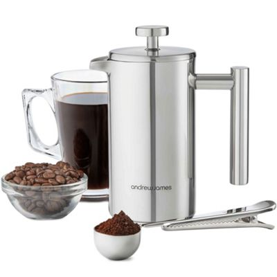 Andrew James Andrew James 350ml Stainless Steel Cafetiere Coffee Press with Measuring Spoon