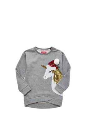 F&F Sequin Unicorn Christmas Sweatshirt 8-9 years Grey