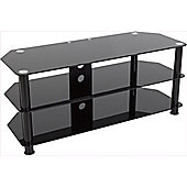 AVF Universal Black Glass and Black Legs TV Stand For up to 55 inch TVs