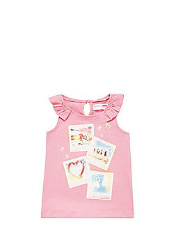 Minoti Holiday Pictures Frill Trim Vest - Pink