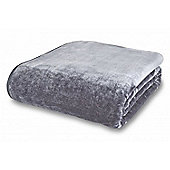 Catherine Lansfield Home Plain Raschel Grey Throw - 200x240cm