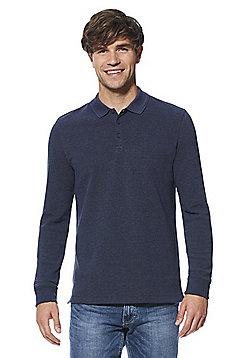 F&F Popcorn Texture Long Sleeve Polo Shirt - Navy