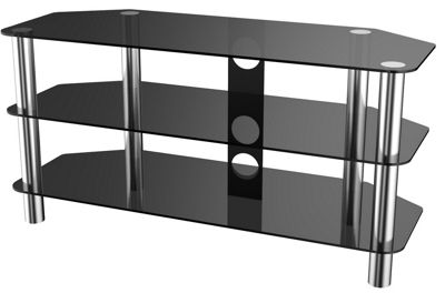 Stealth Mounts 1000mm Black Glass and Chrome TV Stand for TVs up to 50 inch