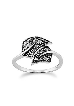 Gemondo Sterling Silver 0.27ct Marcasite Art Nouveau Style Leaf Ring