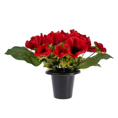 Homescapes Artificial Red Poppy Flower Arrangement in Grave Pot