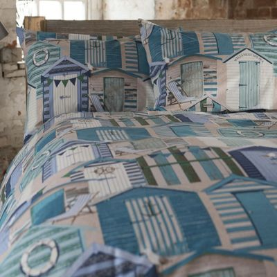 Blue Beach Huts Single Bedding - 100% Cotton, Nautical, Seaside