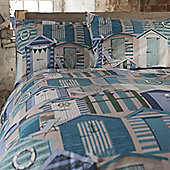 Blue Beach Huts Single Bedding - 100% Cotton, Nautical, Seaside