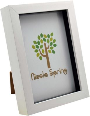 White 5x7 Box Photo Frame - Standing & Hanging