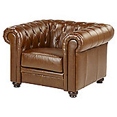 Mortimer Chesterfield Leather Armchair, Tan