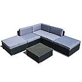 Bermuda Outdoor Black Rattan Garden Corner Sofa Lounge Set