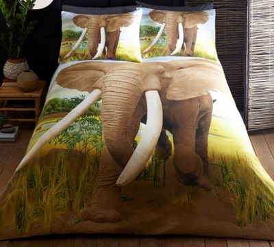 African Elephant duvet cover and pillowcase set - animal print - single