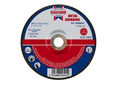 Faithfull Grinding Disc for Metal Depressed Centre 180 x 6.5 x 22mm