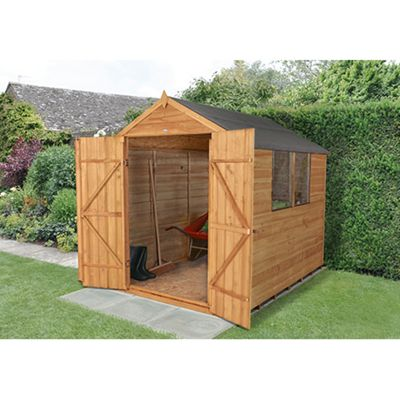 Forest Garden Overlap Dip Treated 8x6 Apex Shed Double Door Installed
