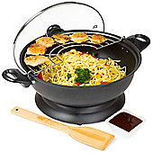 Andrew James Electric Wok Set with Non-Stick Pan - 1400W - Black