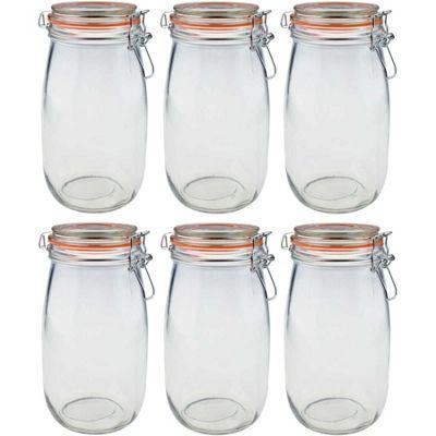 Argon Tableware Preserving / Biscuit Glass Storage Jars - 1500ml - Pack of 6