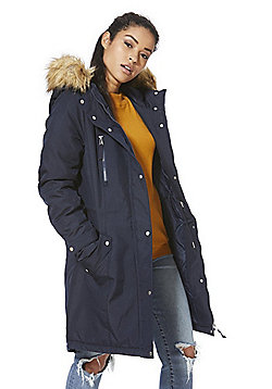 Vero Moda Faux Fur Trim Hooded Parka - Navy