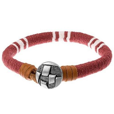 Urban Male Cavendish Red, White and Brown Coloured Cord and Leather Men's Surf Bracelet