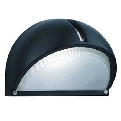 OUTDOOR & PORCH WALL LIGHT BLACK ALUMINIUM HALF MOON